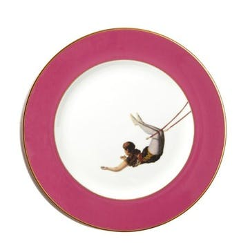 Acts Of Daring Trapeze Girl Dinner Plate, Raspberry Pink