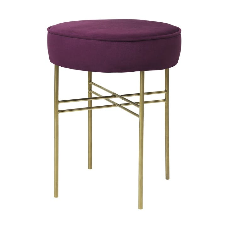 Velvet Club Stool, Boysenberry