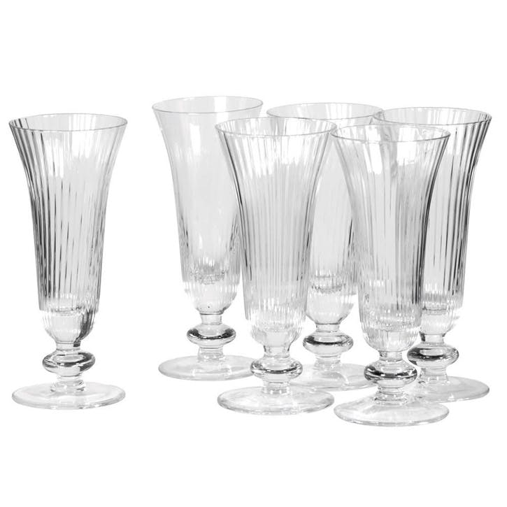 Ribbed Champagne Glass, Set of 6, Clear
