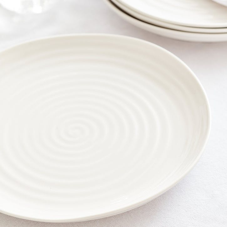 Porcelain Coupe Dinner Plate, Set of Four; White