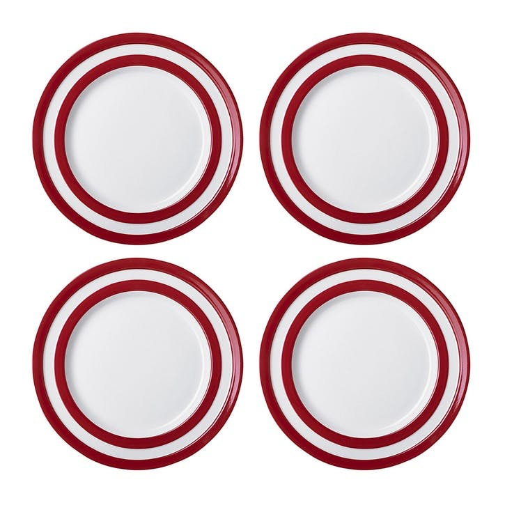 Set Of Four Lunch Plates, 25.4cm, Red