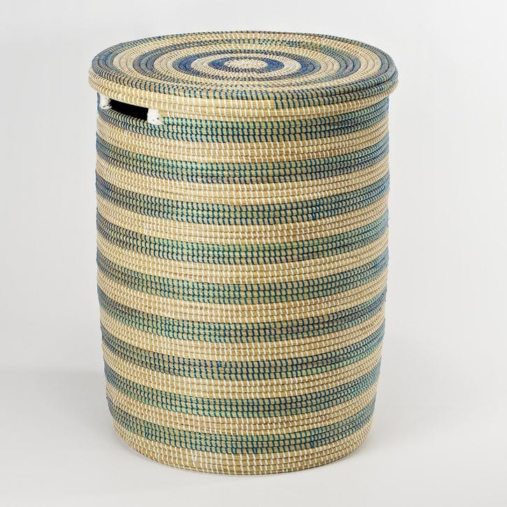 Round Laundry Basket - Medium; Natural/ Blue Stripes