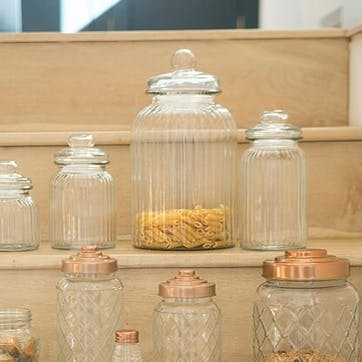 Ribbed Glass Jar, Medium