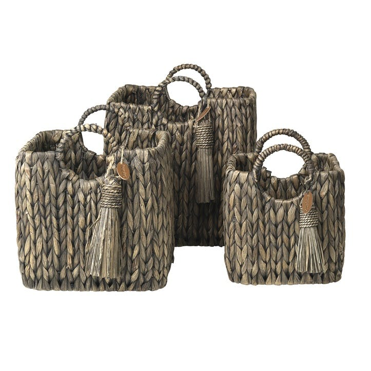 Water Hyacinth Handle Baskets, Set of 3
