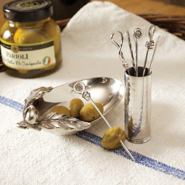 Set of Six Mixed Olive Picks & Holder