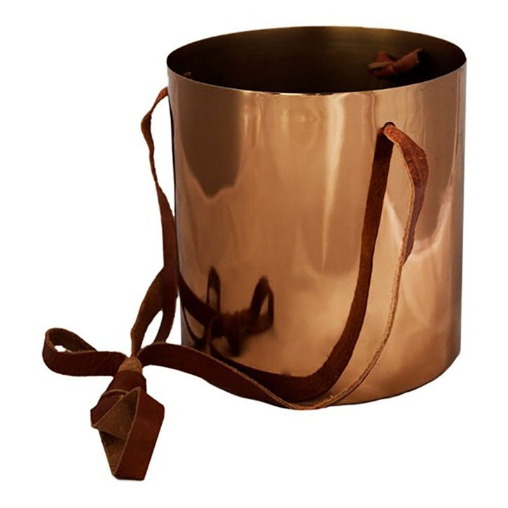 Copper, Hanging Planter With Leather Straps, Dia 15cm