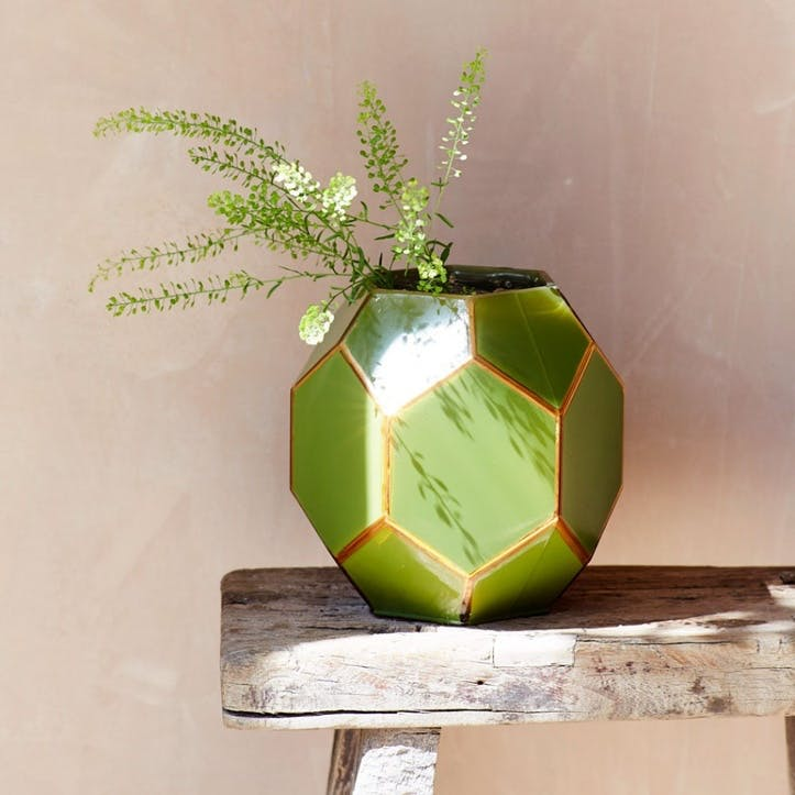 Geometric Green Vase