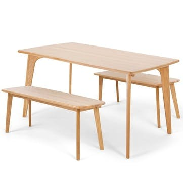 Fjord Bench and Dining Table Set; Oak