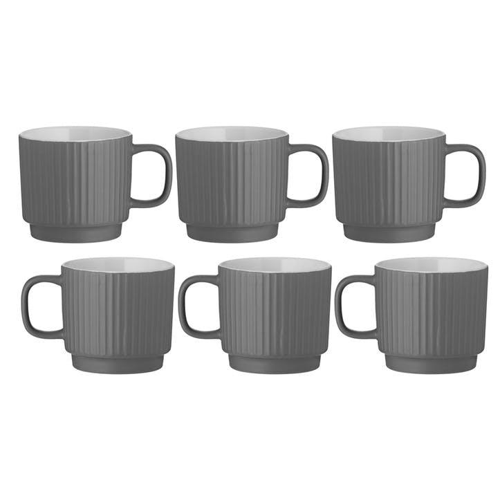 Embossed Line Mug, Set of 6, Grey
