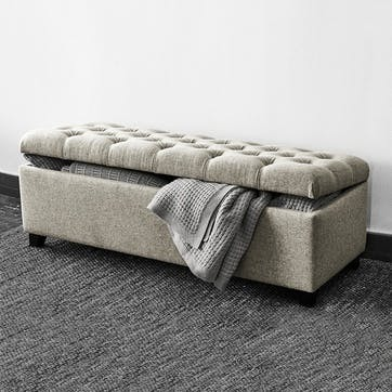 Richmond Wool Ottoman, Light Grey