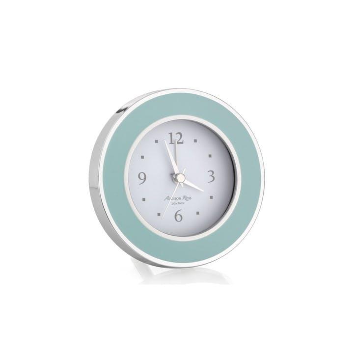 Alarm Clock; Light Blue & Silver