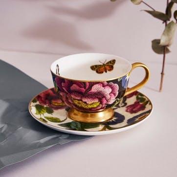 Tea Cup & Saucer Coupe, Floral