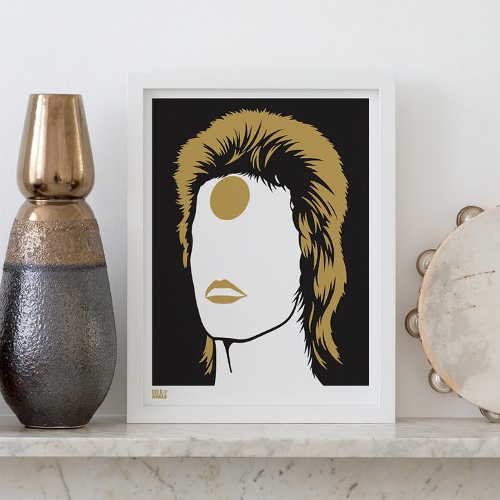 Bowie/Ziggy Stardust Screen Print, 30cm x 40cm, Bronze
