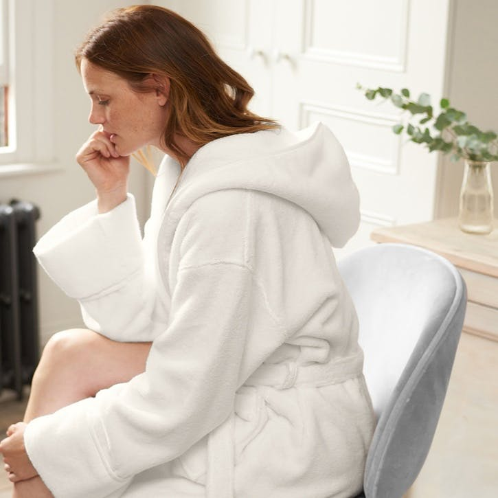 Unisex Hydrocotton Hooded Robe, Medium, White