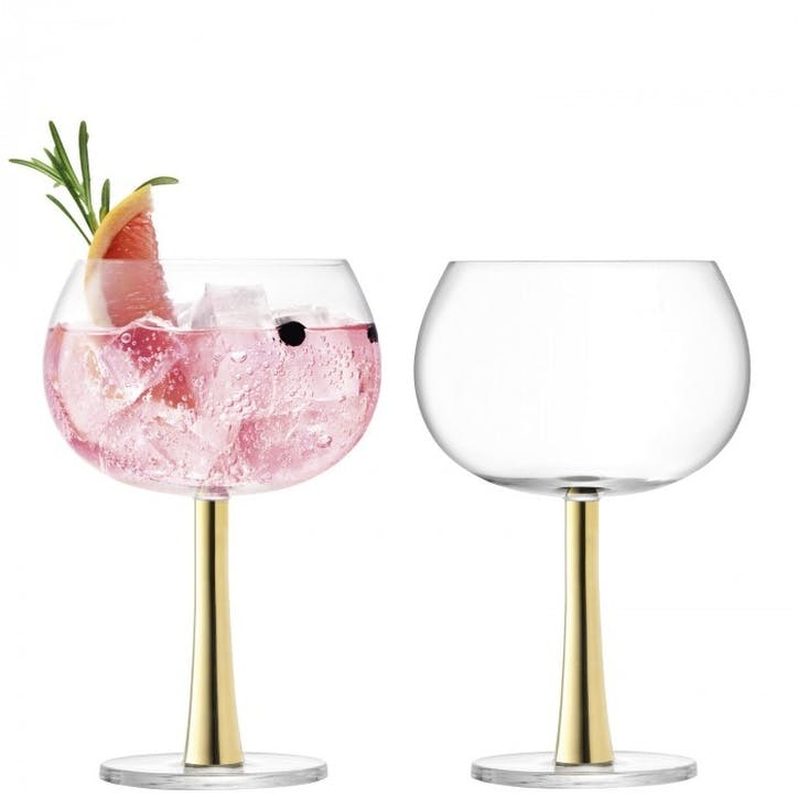 Gin Balloon Glass Set of 2; Gold