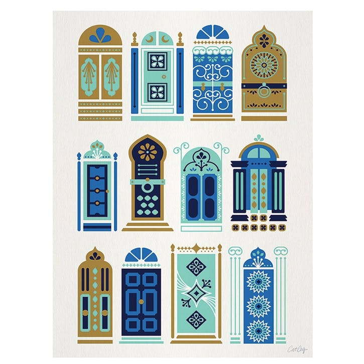 Cat Coquillette Moroccan Doors Canvas, 30 x 40cm