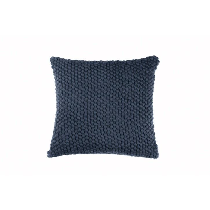 Camo Floral Hand Woven Cushion, Indigo