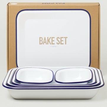 Bake Set, White with Blue Rim