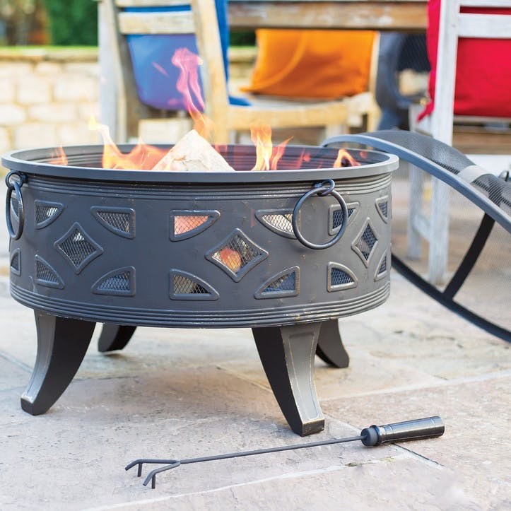 Diamond Deep Steel Firepit with Grill, Brushed Bronze