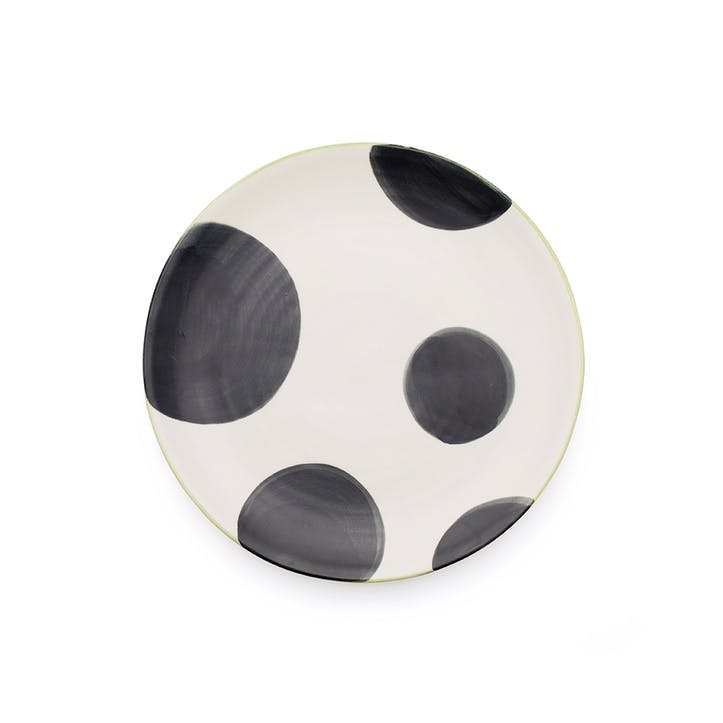 Spots Side Plate, Set of 4, Charcoal