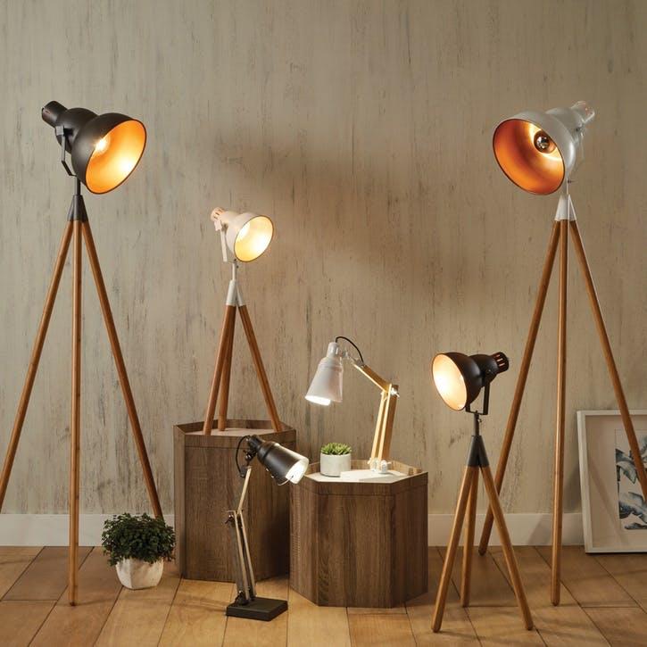 Larkin Tripod Floor Light; White & Copper