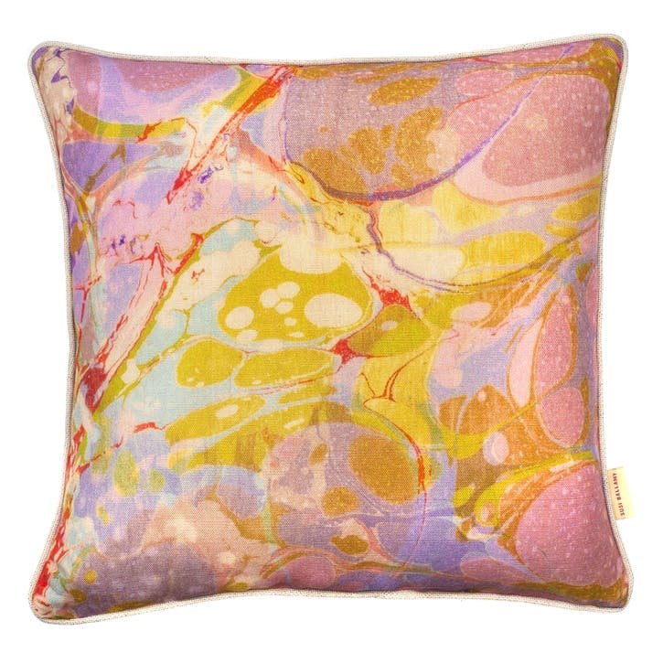 Lavender Tapestry, Square Linen Cushion, H49 x W49cm