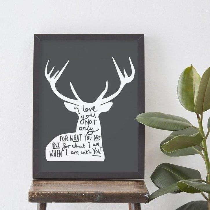 'Love Deer' Print, A3, Charcoal