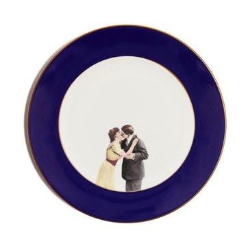Modern Surrealist Kissing Couple Dinner Plate, Cobalt Blue