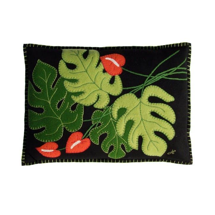 Tropical Cheese Plant Cushion, Black