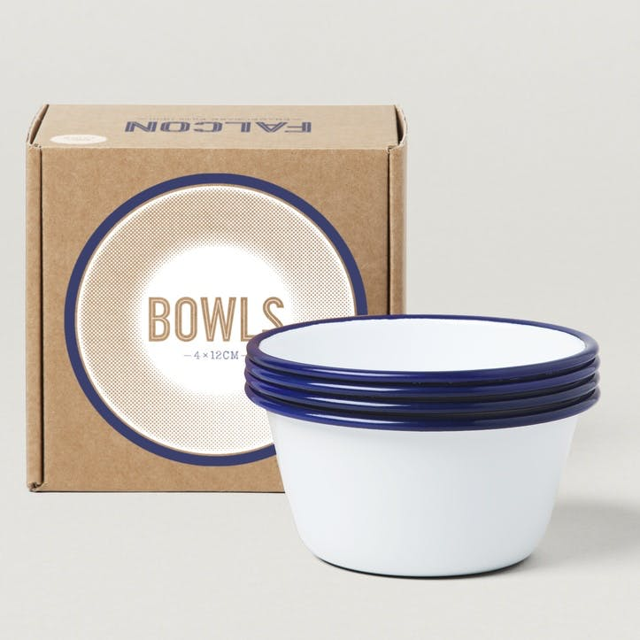 12cm Bowls, White with Blue Rim