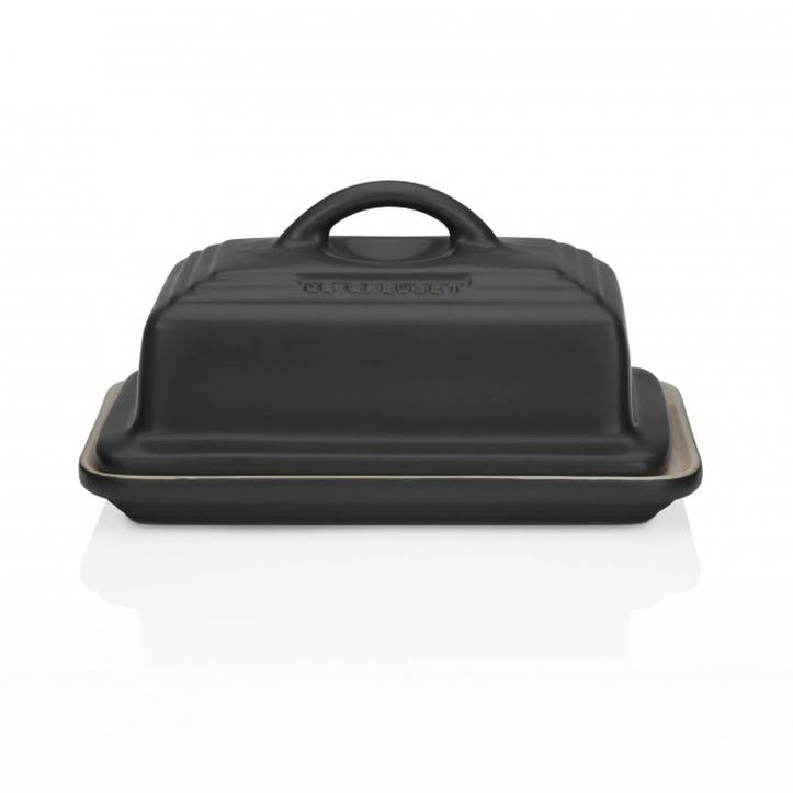 Stoneware Butter Dish; Satin Black