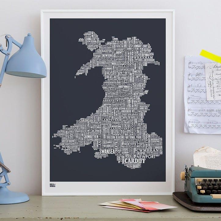 Type Map Screen Print Wales, 50cm x 70cm, Sheer Slate