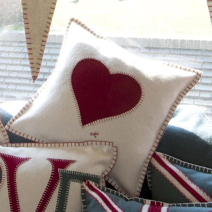 Heart Cushion, Cream
