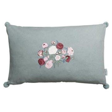 'Peony' Embroidered Cushion