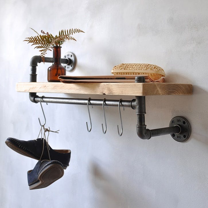 New York Industrial Pipe Shelf - 65 x 35cm; Natural