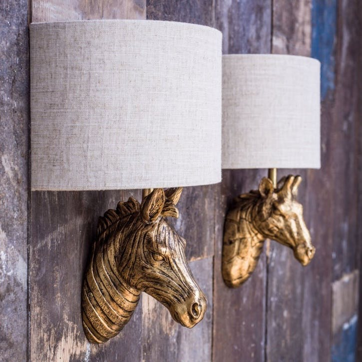 Gold Zebra Wall Light With Shade