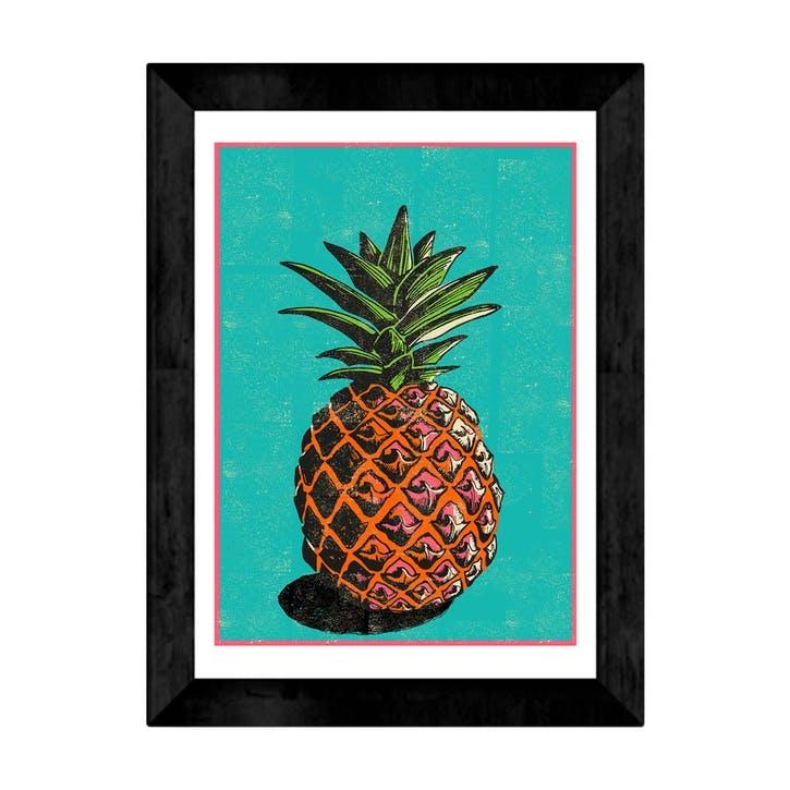 Rocket 68, Pineapple, Framed Art Print, H48 x W37 x D2cm, Black