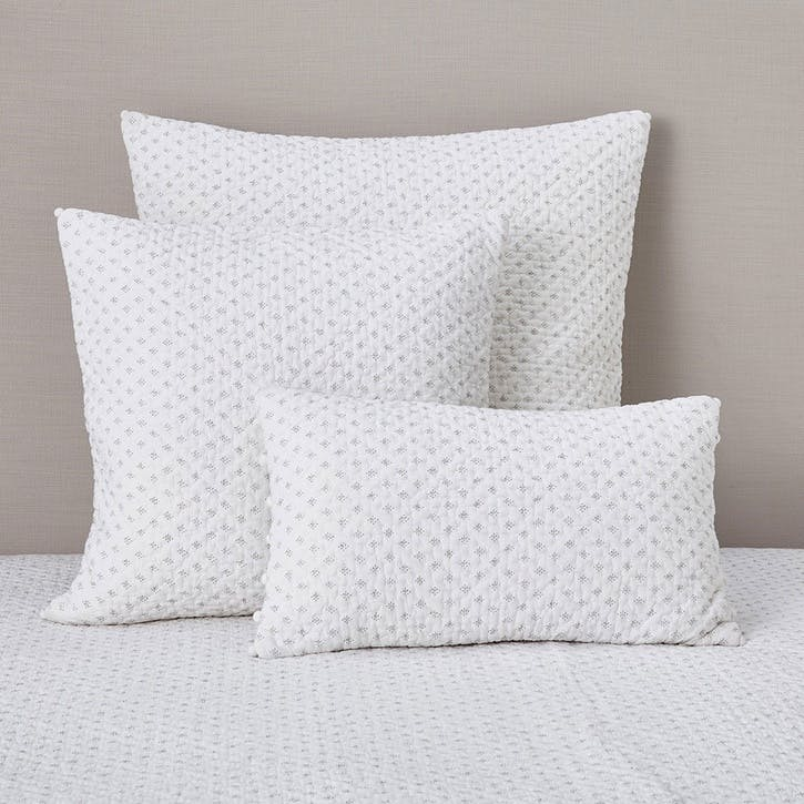 Brittany, Small Rectangle Cushion Cover, White/Grey