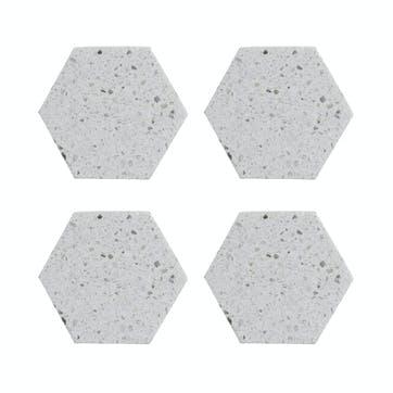 Elements Terrazzo Hexagon Coasters, Set of 4