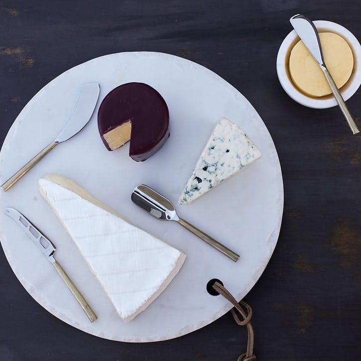 Darsa Cheese Knife Set; Brushed Gold