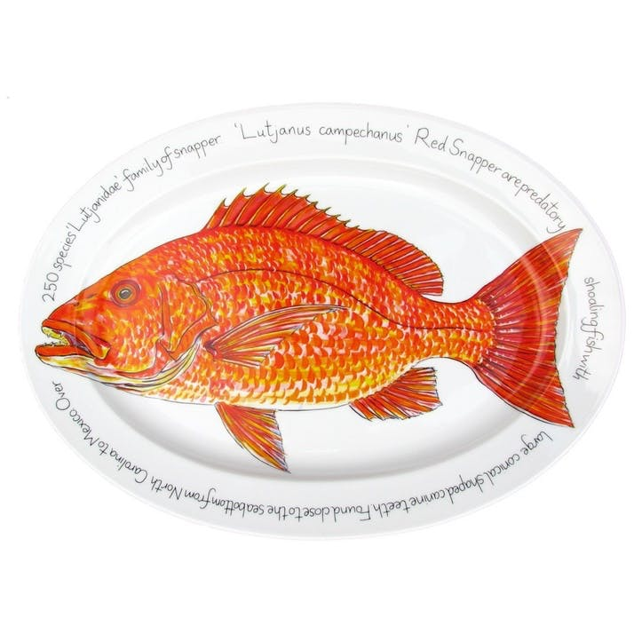 Red Snapper Oval Plate - 39cm