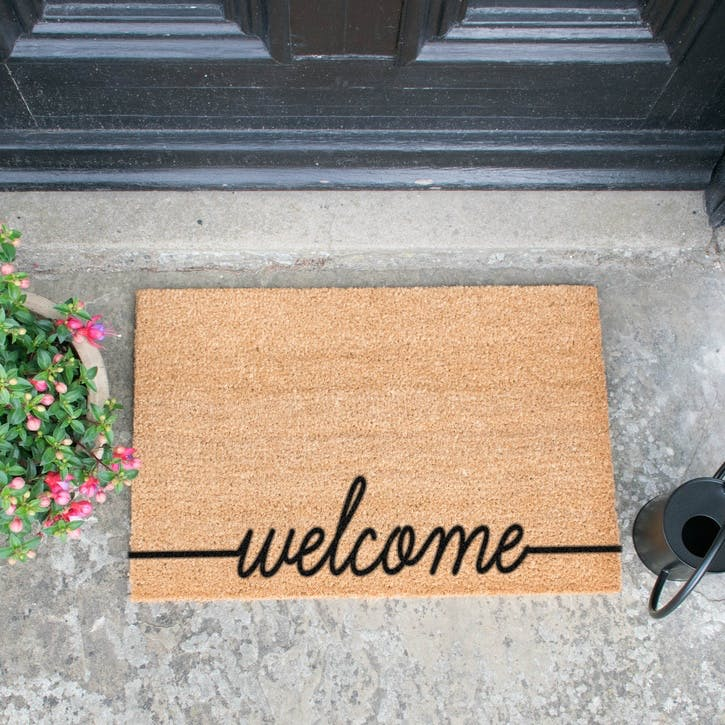 Welcome Scribble Doormat, Black