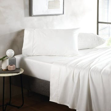500TC Cotton Sateen Fitted Sheet, King, Snow