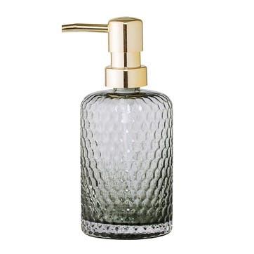 Embossed Glass Soap Dispenser, Grey