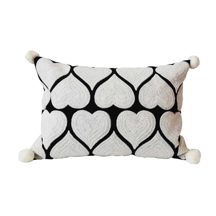 Embroidered Hearts Rectangular Cushion - 50cm; White on Black