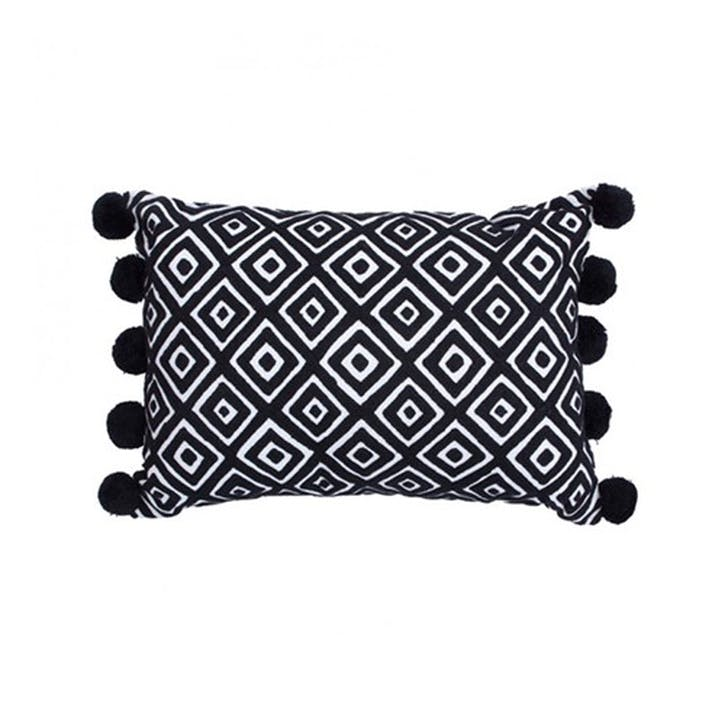 Kabuki Embroidered Diamonds Cushion Rectangular with Pompoms