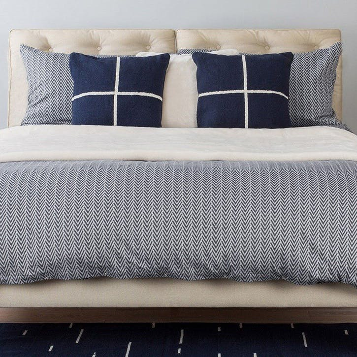 Herringbone Navy Grey Double Duvet Cover