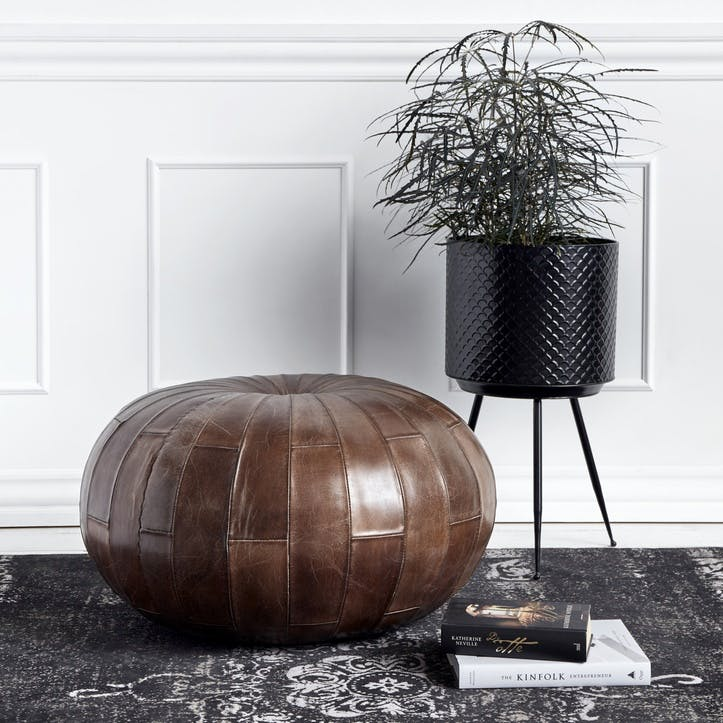 Antique Brown Leather Pouffe