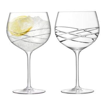 Wave Cut Balloon Gin Glasses 680ml, Set of 2