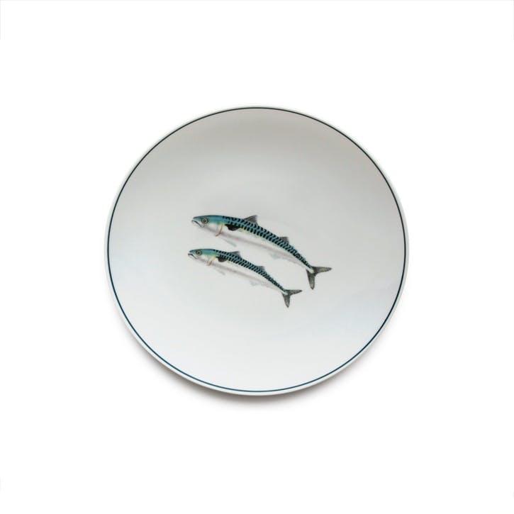Seaflower Mackerel Side Plate, 23cm, Blue